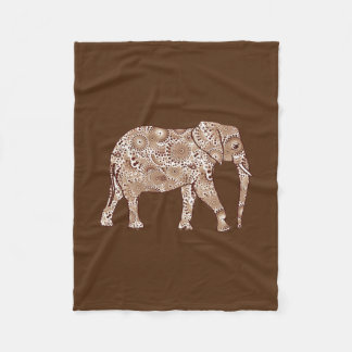 Fractal swirl elephant, coffee brown and beige fleece blanket