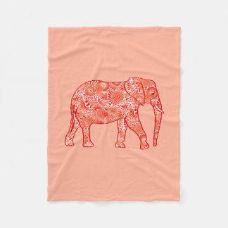 Fractal swirl elephant, coral orange and peach fleece blanket