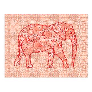 Fractal swirl elephant - coral orange and white postcard