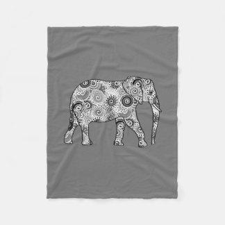Fractal swirl elephant, grey, black and white fleece blanket