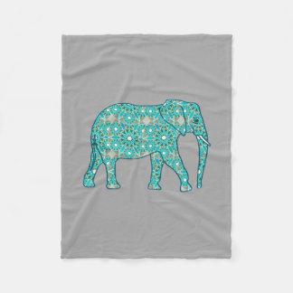 Fractal swirl elephant, turquoise, grey & white fleece blanket