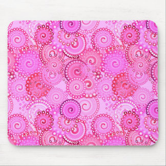 Fractal swirl pattern, pink and fuchsia mouse pad