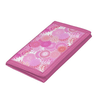 Fractal swirl pattern, shades of pink trifold wallet