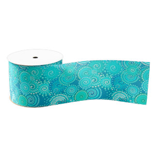 Fractal swirl pattern, shades of turquoise grosgrain ribbon