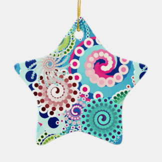 Fractal swirl pattern, turquoise, pink, multi ceramic star decoration