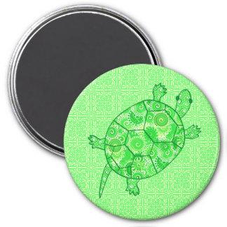 Fractal swirl turtle - lime and emerald green fridge magnets