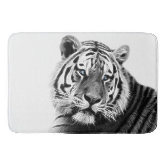 Fractal Tiger in Black and White Bath Mat