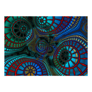Fractal Wave Abstract Pattern Poster