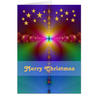 Fractal with Gold Stars Merry Christmas Card