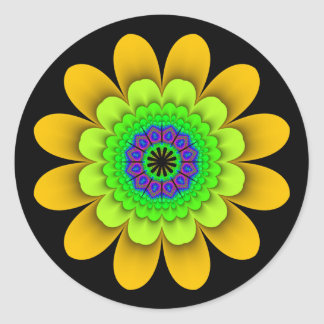 Fractal Yellow Flower Power Stickers