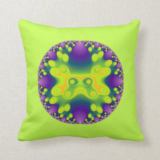 fractal yellow frog on greenish yellow pillows
