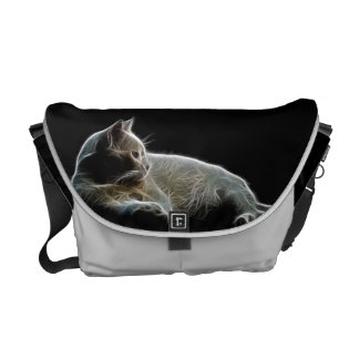 Fractalised image of a white cat messenger bags