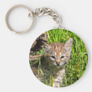 Fractalius Bobcat Basic Round Button Key Ring