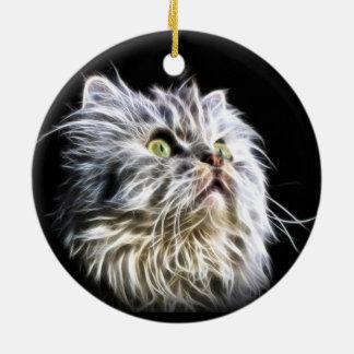 Fractalius Persian cat face Round Ceramic Ornament
