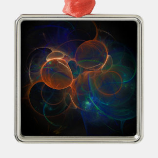fractals halloween 1 Silver-Colored square decoration