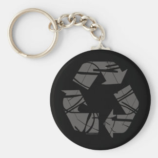 Fractured Gray Recycle Sign Keychain