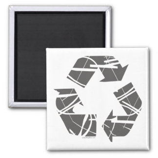 Fractured Gray Recycle Sign Square Magnet