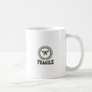 Fragile butterfly sticker coffee mug