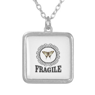 Fragile butterfly sticker silver plated necklace