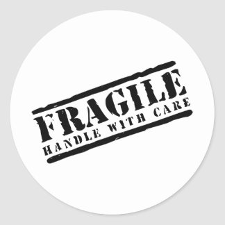 Fragile Handle with Care design Classic Round Sticker
