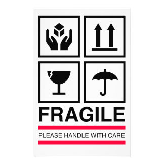 Fragile Handle with care graphic label design Customized Stationery