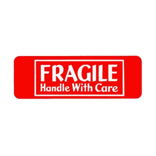 Fragile Handle With Care Warning Label Return Address Label