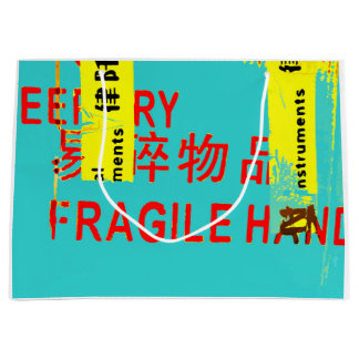 FRAGILE Marking w COOL Asian Characters Large Gift Bag
