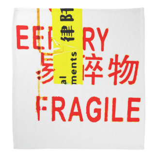 FRAGILE Markings - Torn Peeled Package Bandana