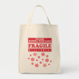 Fragile Millennial, Handle With Care Snowflakes Tote Bag