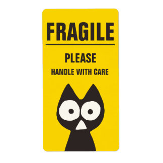 FRAGILE Yellow Black Triangle Cat Shipping Label