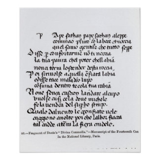 Fragment of Dante's  'Divina Commedia' Poster