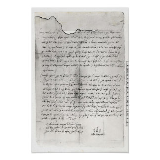 Fragment of letter written by Christopher Poster