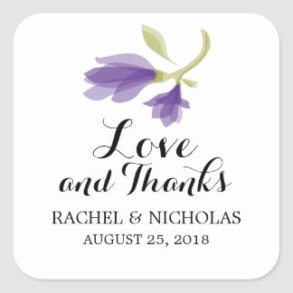 Fragrant Freesia Petals | Favor Thank You Square Sticker