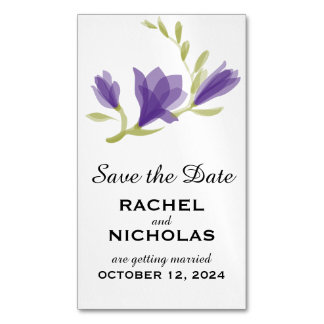 Fragrant Freesia Petals   Save the Date Magnetic Business Cards