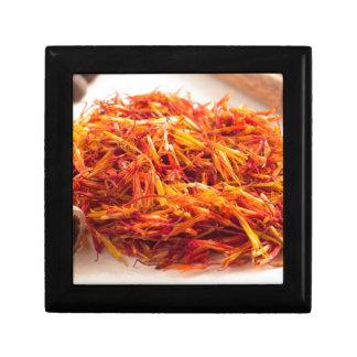 Fragrant saffron close-up small square gift box