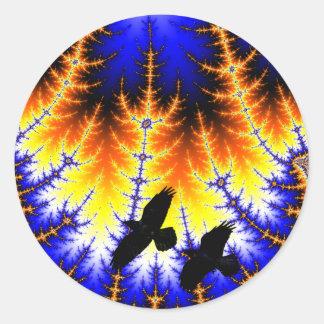 Fraktal almond bread forest Raben wood raven Classic Round Sticker