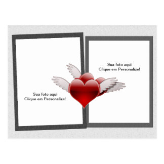 """Frame for photo """"Hearts with wing """" Postcard"""