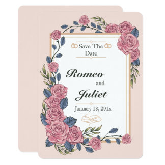 Frame Of Roses Wedding Save The Date Card