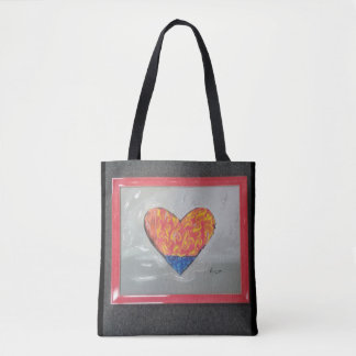 Frame red yellow blue texture heart bag
