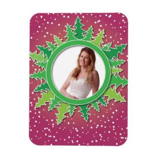 Frame with Christmas Trees on pink bg Rectangular Photo Magnet