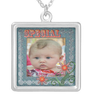 Frame with Special text design Square Pendant Necklace