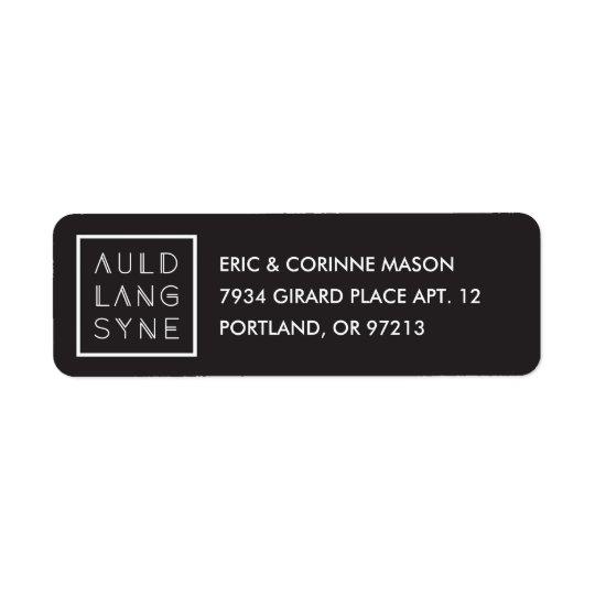 Framed Auld Lang Syne Mailing Label - Black