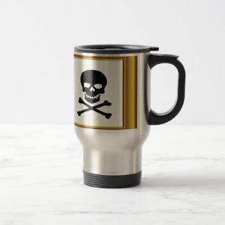 framed black cross bones travel mug