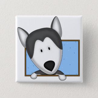 Framed Cartoon Siberian Husky 15 Cm Square Badge