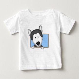 Framed Cartoon Siberian Husky Baby's Tshirts