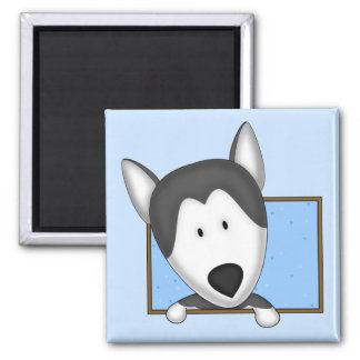 Framed Cartoon Siberian Husky Magnet
