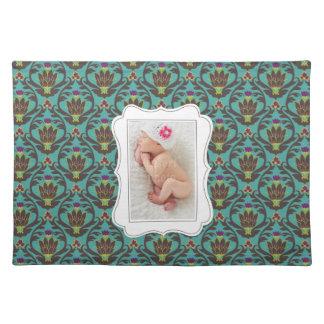 Framed custom photo on teal damask background placemats