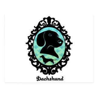 Framed Dachshund Illustration Postcard
