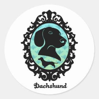 Framed Dachshund Illustration Round Sticker