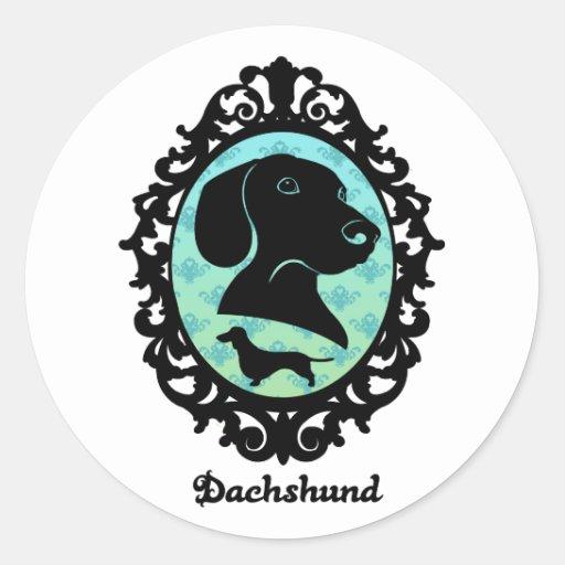 Framed Dachshund Illustration Round Stickers